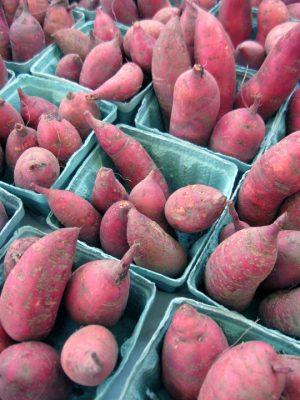 blue cartons of sweet potatoes