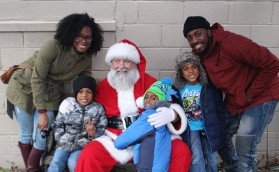 Santa with children and parents