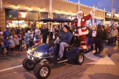 Santa Riding on a golf cart