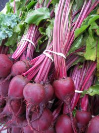 bunches of beets with greens