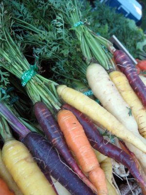 bunches of rainbow carrots