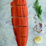 salmon filet on ice