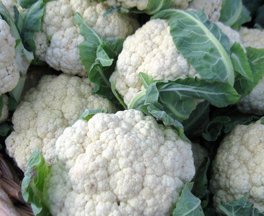 multiple heads of cauliflower in a basket